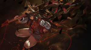 Anime Girls Anime Azomo Fate Series FGO Fate Grand Order Oda Nobunaga Fate Grand Order Brunette Red  1920x1080 Wallpaper