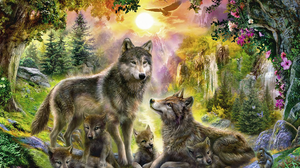 Animal Baby Animal Cub Tree Waterfall Wildlife Wolf Predator Animal 1920x1411 Wallpaper