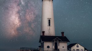 Lighthouse Stars Sky House Portrait Display 3276x4096 Wallpaper