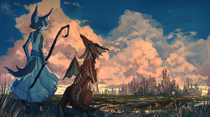 Bakawasima Dress Clouds Anthro Dragon Staff Cityscape City Water Horns Grass Dog Digital Painting 1484x1000 wallpaper