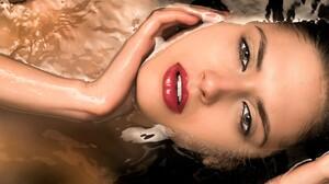 Woman Girl Lying Down Water Face Lipstick 1920x1281 Wallpaper