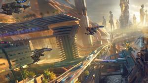 Sci Fi City 3459x1806 Wallpaper
