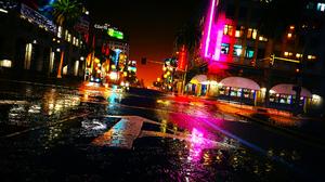 Reflection Night City Light Water 1920x1080 wallpaper