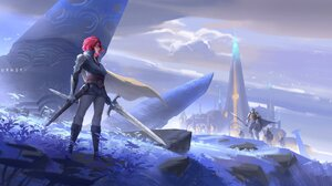 Artwork Fantasy Art Fantasy Girl Girls With Swords Redhead Sword Weapon Standing 1920x1013 Wallpaper