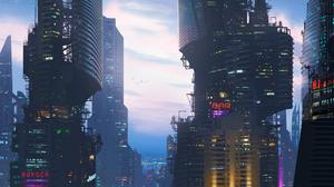 Building Cloud Cyberpunk Cityscape Sci Fi Skyscraper 2560x1440 Wallpaper