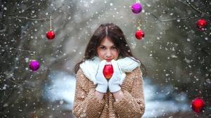 Bauble Blue Eyes Brunette Girl Model Scarf Snowfall Woman 2048x1365 Wallpaper