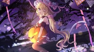 Anime Anime Girls Halloween Cat Girl Witch Hat Dress Blonde Long Hair Wink Purple Eyes 3508x2480 Wallpaper