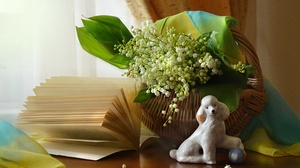 Basket Book Bouquet Dog Figurine Lily Of The Valley Poodle Still Life 4928x3264 Wallpaper