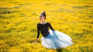 Woman Yellow Flower Brunette 2560x1708 Wallpaper