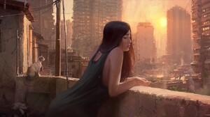 Cat Cityscape Sunset Woman 2872x1515 Wallpaper