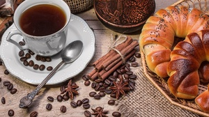 Cinnamon Coffee Cup Drink Still Life Viennoiserie 3500x2333 Wallpaper