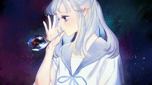 Bubble Long Hair White Hair Blue Eyes 2024x1624 Wallpaper