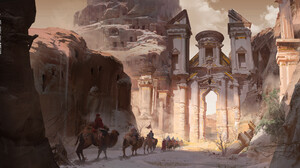 Digital Art Landscape Fantasy City Camels Desert Portal 3840x1920 Wallpaper