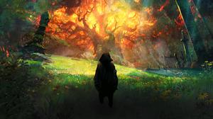 Fire Flame Grass Landscape Nature 3840x2160 Wallpaper