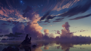 Cloud Dog Stars Sunset Water 1920x1280 Wallpaper