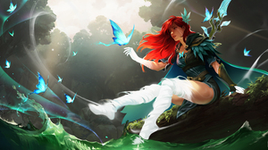 Digital Art Fantasy Art Fantasy Girl Redhead Butterflies Forest Wands Dota 2 Windranger 4096x2160 Wallpaper