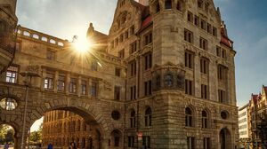 Architecture Building Arch Ronny Welscher Sun Rays Old Building Cobblestone Clouds Birds People Town 1333x1999 Wallpaper