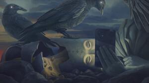 Digital Art Fantasy Art Alexey Egorov Phone Birds Coins 1687x900 wallpaper