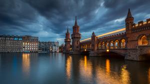 Berlin Bridge Building City Germany Night River 7360x4140 Wallpaper