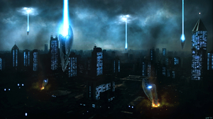 Space Invasion Alien City Night Spaceship 2560x1440 wallpaper