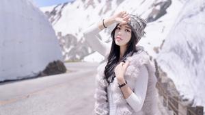 Model Women Brunette Asian Road Women Outdoors Beanie Snow Looking At Viewer 5616x3746 Wallpaper