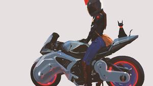 Cat Girl Motorcycle Woman 1920x1080 wallpaper