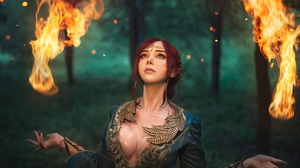 Sayathefox Women Model Redhead Tiaras Freckles Cosplay Triss Merigold The Witcher Video Games Video  3000x2000 Wallpaper