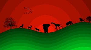 Artistic Deer Elephant Giraffe Lion Minimalist Rhino Wolf 5760x3240 Wallpaper