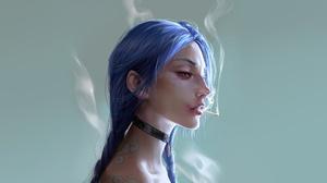 Artwork Women Jinx League Of Legends Blue Hair Smoking Choker 3840x2160 Wallpaper