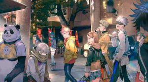 Anime Panda Casual Scarf Women Outdoors Bangs Open Mouth Men Outdoors 2D Blond Hair Grey Hair Brunet 3840x2160 Wallpaper
