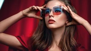 Brunette Face Girl Lipstick Model Sunglasses Woman 1920x1280 Wallpaper