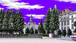 Pixel Art Pixelated Pixels Digital Art Trees Building Fence Park Clouds Purple Sky 2280x1280 Wallpaper