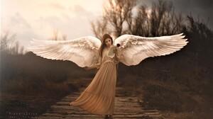 Angel Artistic Girl Red Rose Rose Wings Woman 2048x1290 Wallpaper