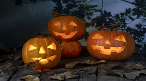 Fall Halloween Jack O 039 Lantern Leaf Pumpkin 6720x4480 Wallpaper