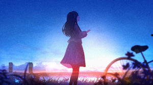 Bike Girl Long Hair Sky 4694x2640 Wallpaper