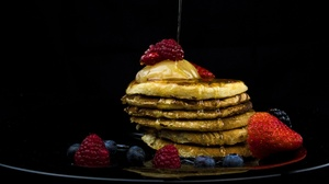 Berry Blueberry Honey Pancake Raspberry Strawberry 3840x2160 Wallpaper