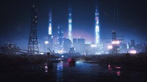 Cyberpunk Cyberpunk 2077 Video Game Art Video Games Digital Art City Night Lights Road Highway Skysc 2048x1152 Wallpaper