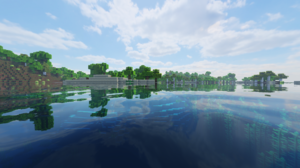Minecraft Swamp Ocean View Clear Sky Wood Forest Water Landscape Aerial View Village 1920x1080 Wallpaper