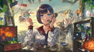 Anime Anime Girls Blue Eyes Blue Hair Short Hair Sailor Uniform Sailor Suit Tea Party Fish Fox Mask  7016x3780 wallpaper