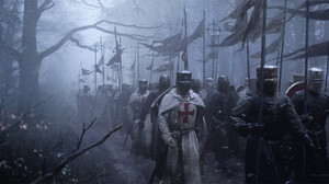 Medieval Knight Crusaders Soldier Forest Mist Trees Army 3000x1500 Wallpaper