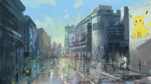Digital Art Cityscape Pokemon Slow D 2362x1405 Wallpaper