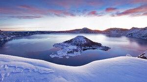 Nature Landscape Snow Crater Lake USA Oregon Winter Water 1920x1080 Wallpaper