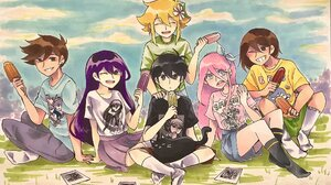 Omori Video Game Popsicle Blonde Mari Omori Wink Smile Skirt Socks Shorts Shirt Purple Hair Basil Om 2048x1438 Wallpaper
