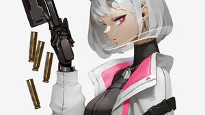 Anime Anime Girls Simple Background Original Characters Horns Gun Short Hair Midfinger Vertical 1110x1990 wallpaper