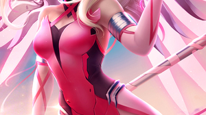 Zarory Drawing Overwatch Women Mercy Blonde Pigtails Weapon Heart Design Pink Pink Clothing Wings Fl 1000x1500 Wallpaper