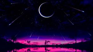 Sunset Moon Phases Night Purple Background Shooting Stars Dark Stars Alone Nature 1920x1080 wallpaper