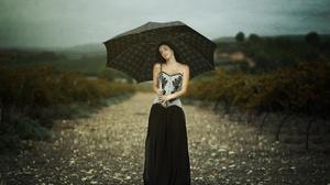 Girl Model Road Umbrella 2048x1428 Wallpaper