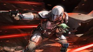 The Mandalorian Grogu Baby Yoda Science Fiction 5120x2425 Wallpaper