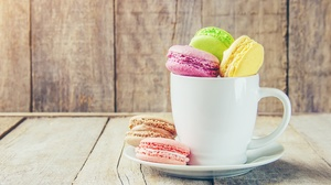 Cup Macaron Still Life Sweets 5094x3396 Wallpaper