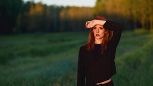 Women Model Redhead Pierced Nose Pierced Eyes Looking Away Black Shirt Shirt Hands Forest Red Lipsti 2048x1367 Wallpaper